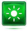 Screen brightness sun icon neon light green square button