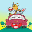 Giraffe and Bunny Driving a Litlle Car Illustration. - Vector - 242418520