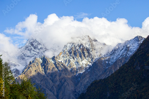 mountains, rocks, clouds, autumn, North Ossetia