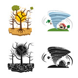 Vector design of natural and disaster icon. Set of natural and risk stock symbol for web. - 242422357