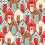 Watercolor vector house pattern - 242423354