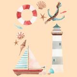 Watercolor marine vector frame - 242423579