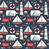 Watercolor marine vector pattern - 242423744