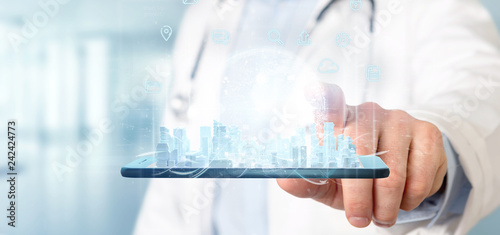 Leinwanddruck Bild Doctor holding Smart city user interface with icon, stats and data 3d rendering