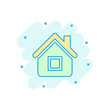 House building icon in comic style. Home apartment vector cartoon illustration pictogram. House dwelling business concept splash effect.