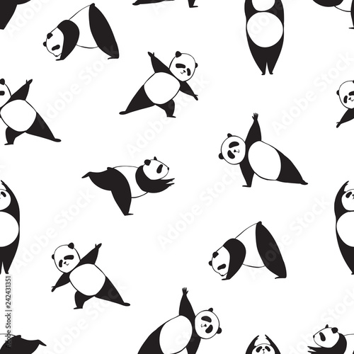 Panda in different joga pose. Black and white seamless vector pattern of panda.