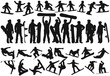 Snowboarding people men women and children vector silhouettes collection