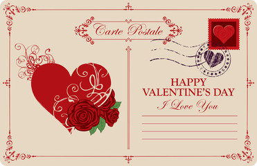 Retro valentine card or postcard with red heart and roses. Romantic vector card in vintage style with place for text, calligraphic inscription I love you and words Happy Valentines day