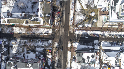 bulldozer work on ground with ice drone shoot