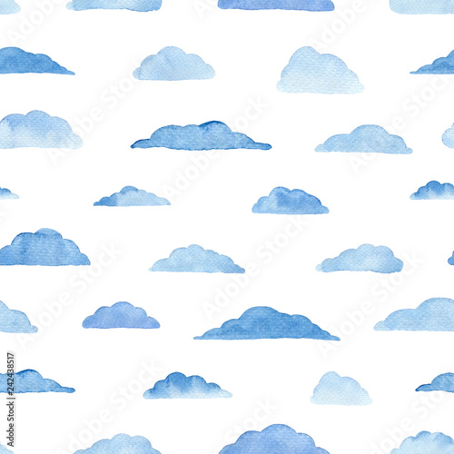 Watercolor pattern with clouds.