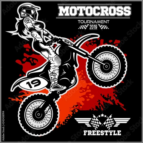 Female Motocross Vector Design Illustration - on black background