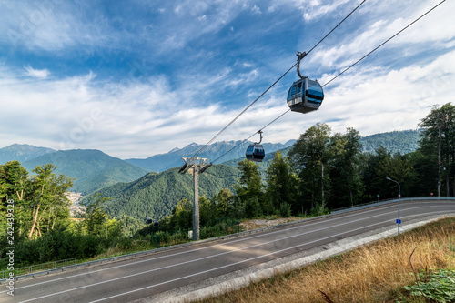 Mountain cableway. Sunny summer day.