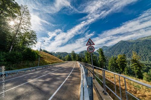 Asphalt mountain road.