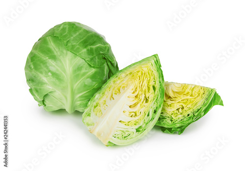 Foto Murales green cabbage on white