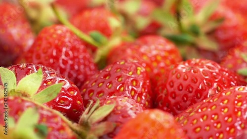 red strawberries rotate