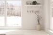 Leinwandbild Motiv White empty room with winter background in window. Scandinavian interior design. 3D illustration