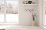 White empty room with winter background in window. Scandinavian interior design. 3D illustration