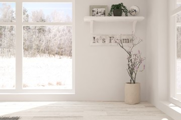White empty room with winter background in window. Scandinavian interior design. 3D illustration