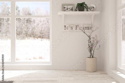 White empty room with winter background in window. Scandinavian interior design. 3D illustration - 242445959