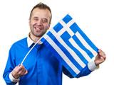 Happy man holding Greek flag - 242447328