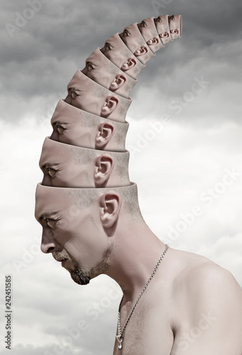 Surreal portrait of man