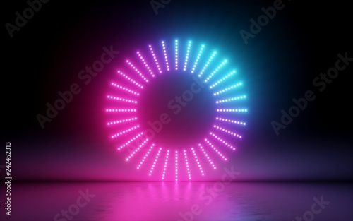 Foto Murales 3d render, abstract background, round screen, ring, glowing dots, neon light, virtual reality, volume equalizer interface, hud, pink blue spectrum, vibrant colors, laser disc, floor reflection