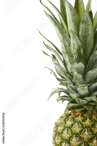 close up of sweet and fresh pineapple isolated on white