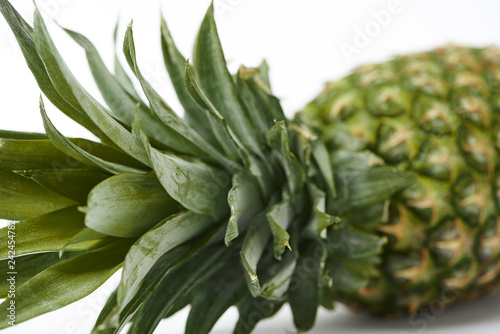 selective focus of of green leaves of ripe pineapple
