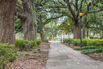 Lanterns in the Forsyth Park in Savannah, GA