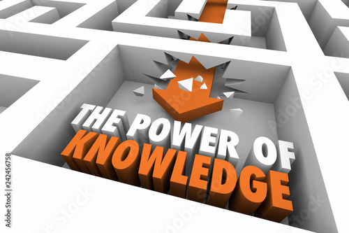 The Power of Knowledge Maze Arrow Words 3d Illustration | Buy Photos