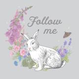 White rabbit. Flower wreath. Vintage classic illustration. Follow me. Pastel color