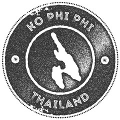 Ko Phi Phi map vintage stamp. Retro style handmade label, badge or element for travel souvenirs. Dark grey rubber stamp with island map silhouette. Vector illustration.