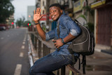 portrait of young african man, smiling. - 242459773