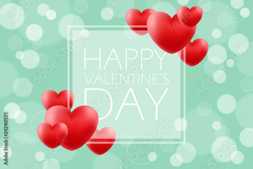Happy Valentines Day romantic background with red hearts. 14 february holiday greetings. Vector Illustration.