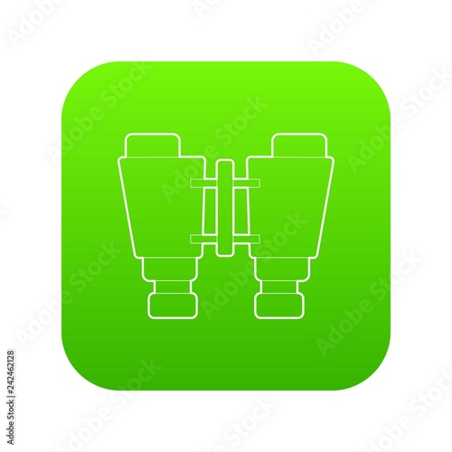 Binocular icon green vector isolated on white background
