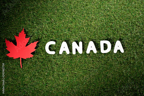 word 'Canada' with maple leaf on green grass background