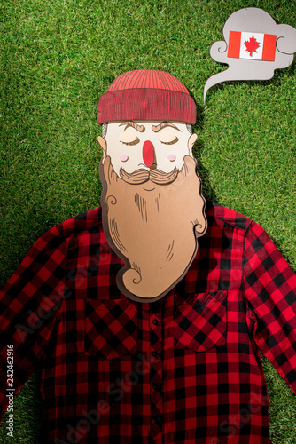 cardboard man in plaid shirt and thought bubble with canadian flag on green grass background