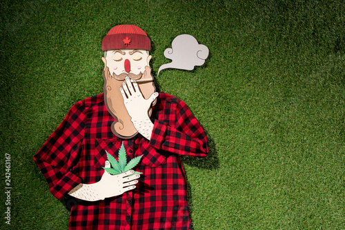 cardboard man in plaid shirt holding cannabis and smoking on green grass background, marijuana legalization concept