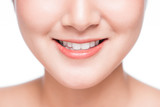 Close up of smile of young asian woman with great healthy white teeth - 242463732