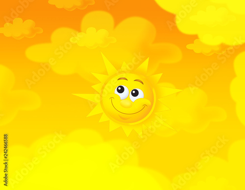 cartoon summer sky and happy sun background with space for text - illustration for children - 242466588