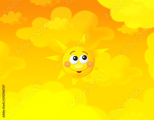 cartoon summer sky and happy sun background with space for text - illustration for children - 242466767