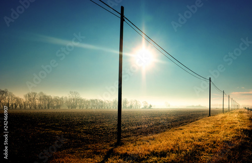 veduta rurale della campagna invernale