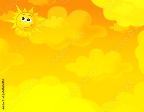 cartoon summer sky and happy sun background with space for text - illustration for children - 242466980