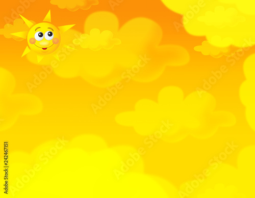 cartoon summer sky and happy sun background with space for text - illustration for children - 242467151