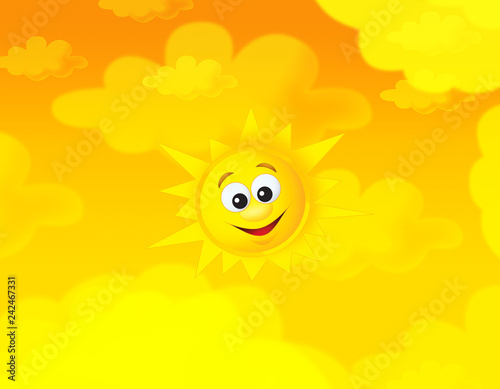 cartoon summer sky and happy sun background with space for text - illustration for children - 242467331