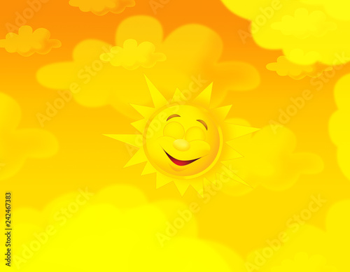 cartoon summer sky and happy sun background with space for text - illustration for children - 242467383