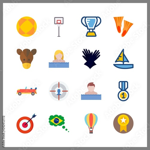 16 competition icon. Vector illustration competition set. trophy and hot air balloon icons for competition works - 242472772