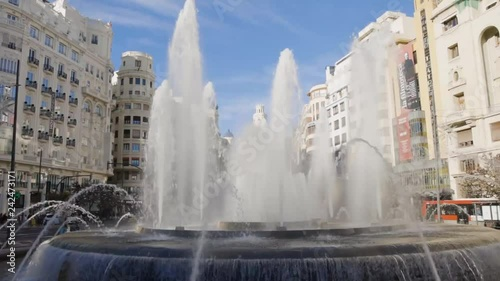 Fountain in City Centre of Valencia.  Shot in 1080p fullHD at 60fps so it can be slowed down in post.