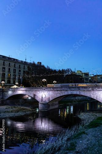 Girona's landmark stone bridge at night