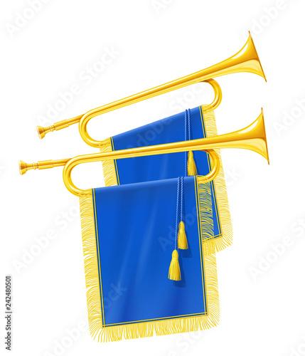 Golden royal horn trumpet with blue banner. Musical instrument